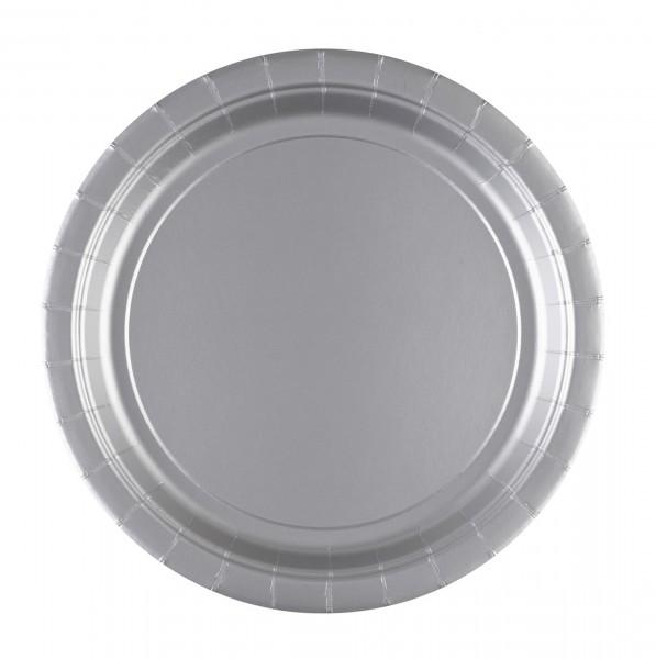 20 platos de papel plateados 23cm
