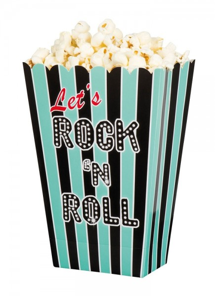 4 Türkise Rock & Roll Popcorn Boxen