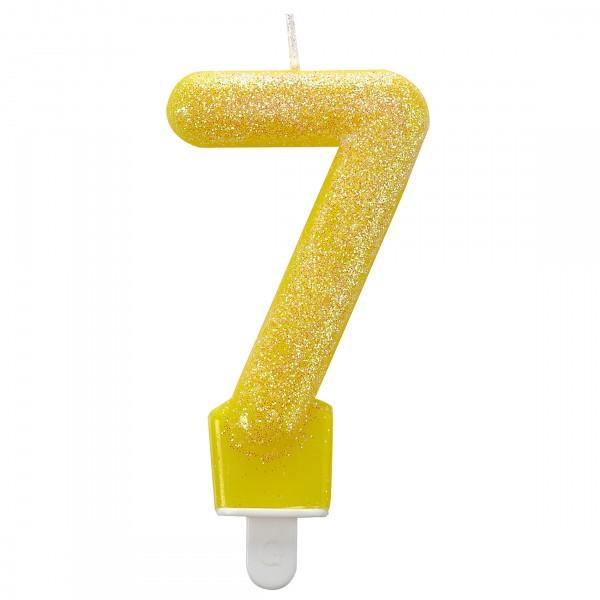 Vela pastel brillante 7 en amarillo