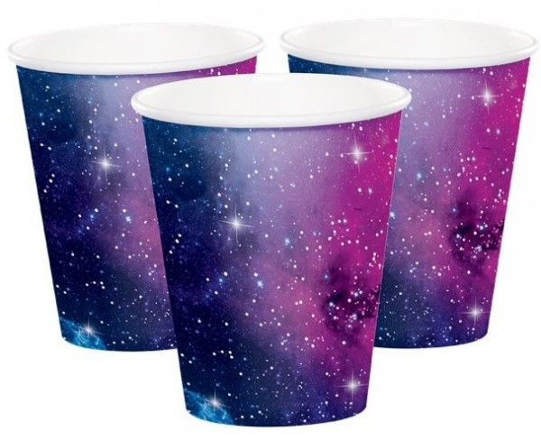 8 Galactic Birthday Pappbecher 266ml