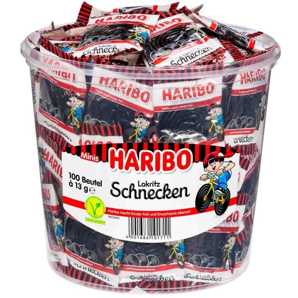 100 Beutel Haribo Lakritz Schnecken 13g