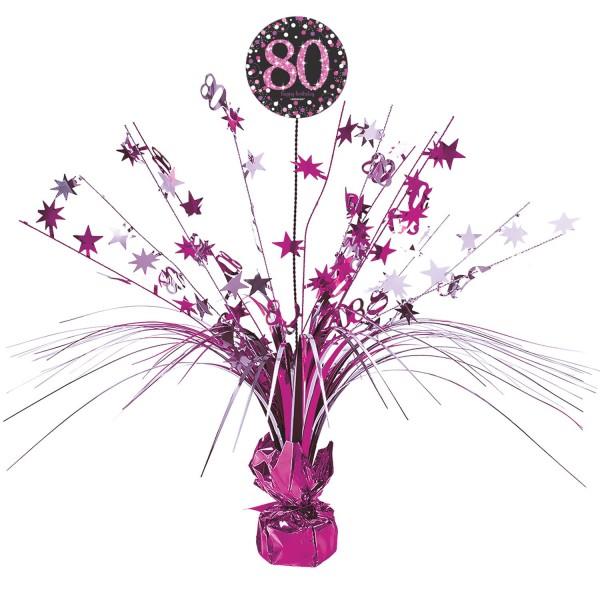 Pink 80th Birthday Tischfontäne 46cm