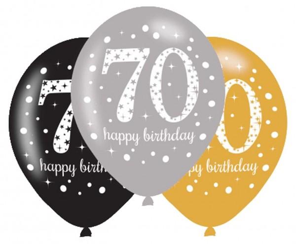 6 Golden 70th Birthday Ballons 27,5cm