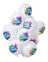 12 Latexballons Happy Bday Color Splash