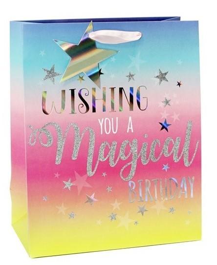 Bolsa de regalo de cumpleaños mágica 25 x 21,5 cm