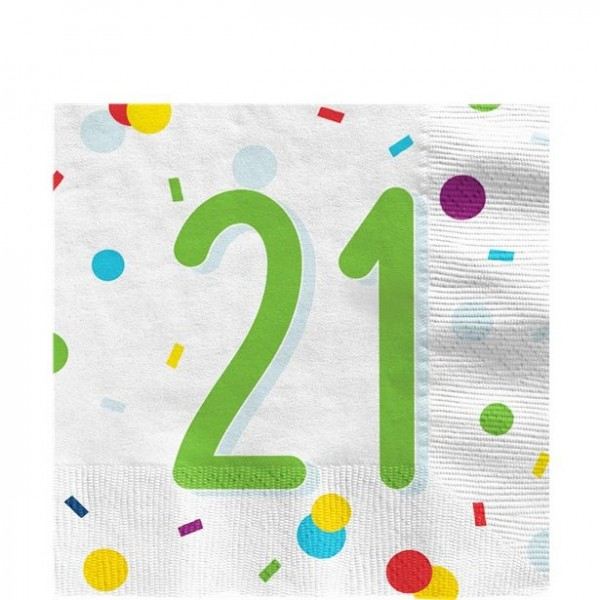 20 serviettes de table confettis 21e anniversaire