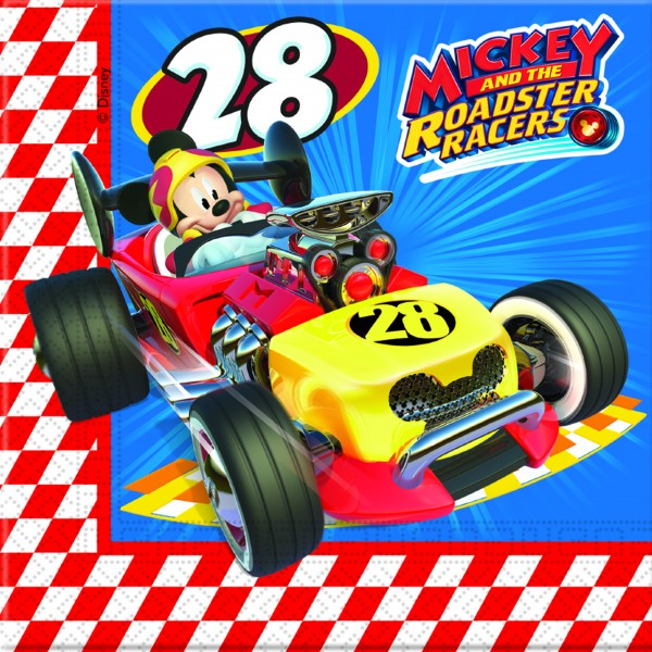 20 Rennfahrer Mickey Servietten 33cm