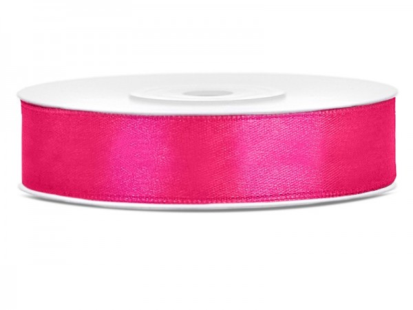 25m satin ribbon, dark pink, 12mm wide
