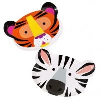 12 Partyteller Zebra und Tiger 23cm