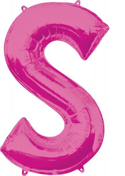 Globo de lámina letra S rosa XL 88cm