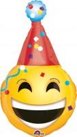 Folienballon Lachender Smiley mit Partyhut XL