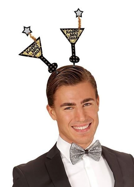 Oudejaarsavond hoofdband met goud martini bril
