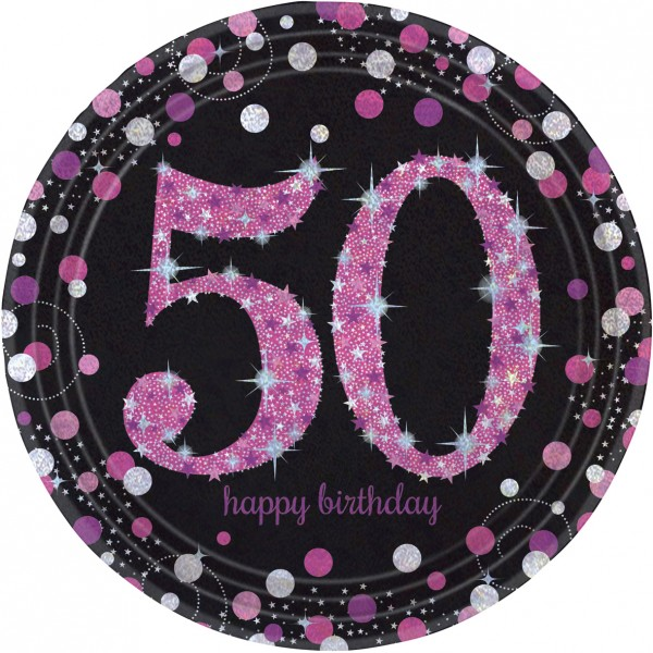 8 pink 50th birthday paper plates 23cm