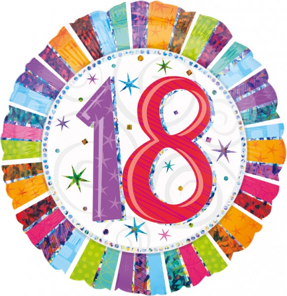 Kleurrijke ballon 18e verjaardag 45cm
