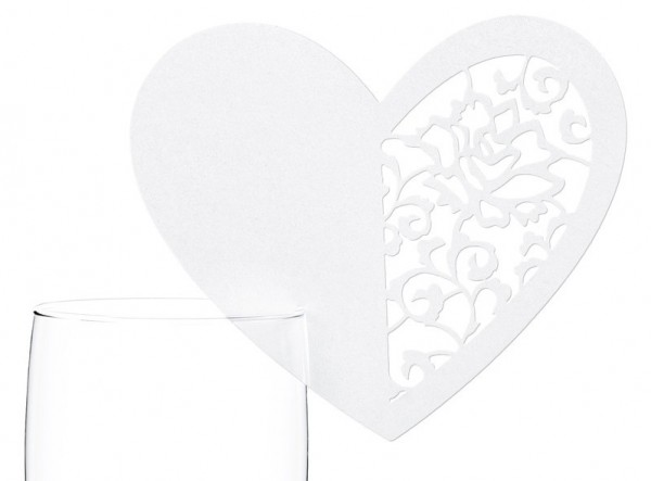 10 playful heart place cards 9.5 x 8cm