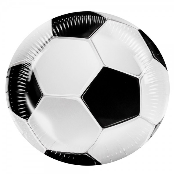 6 Football Party Paper Plates 23cm