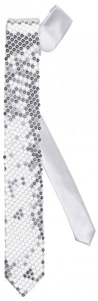 Glitzer Paillettenkrawatte In Silber