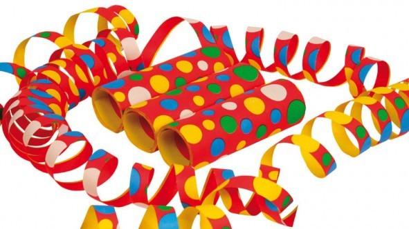 3 Rollen bunte Karneval Konfetti Luftschlangen