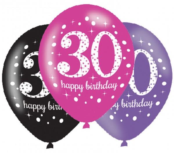 6 Pink 30th Birthday Ballons 27,5cm