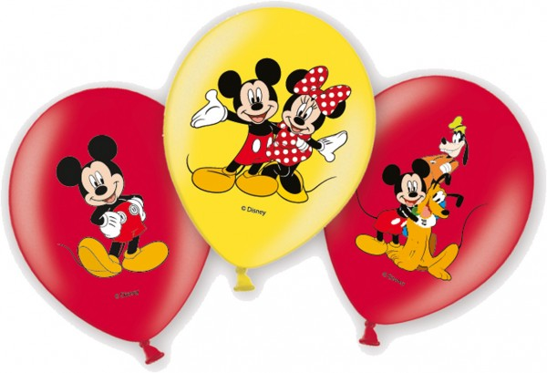 6 Mickey Mouse Familie Luftballons 27,5cm