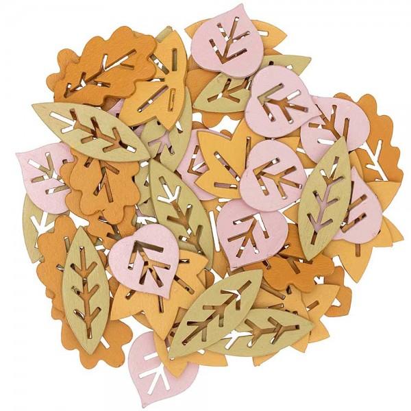 Scatter bladeren decoratie gemaakt van hout 48 stuks