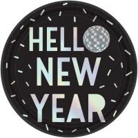 8 New Year Disco Pappteller 23cm