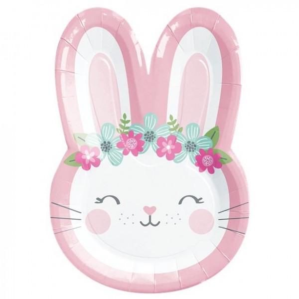 Talerz papierowy na 8 urodzinowy króliczek 23cm