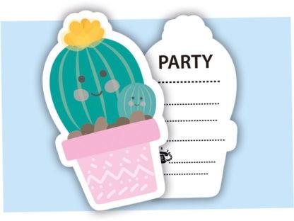 6 Happy Kaktus Einladungskarten