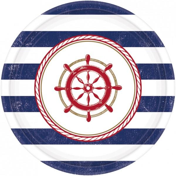8 Maritime Sommer Pappteller 18cm