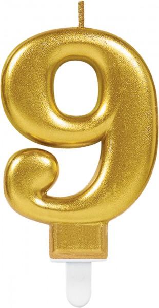 Bougie numéro 9 or métallique