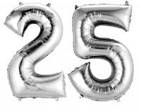 Folienballon Zahl 25 silber metallic 40cm