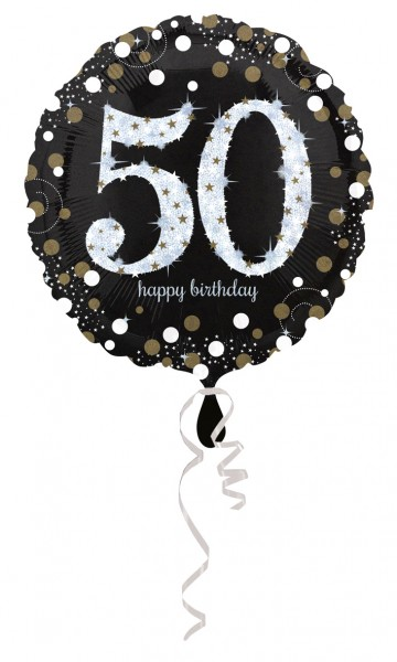 Golden 50th Birthday foil balloon 43cm