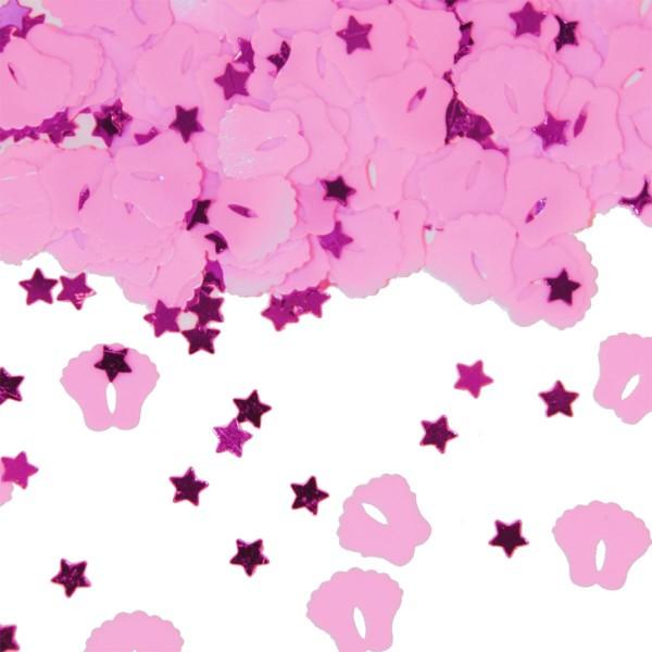 Confeti de pies de bebé rosa