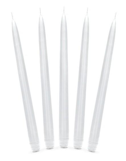 10 candele per la cena bianche 24cm
