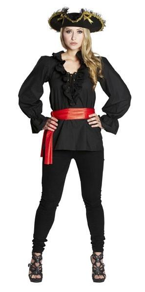 Blusa pirata negra Kira para mujer