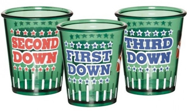 3 football touchdown shot glasses