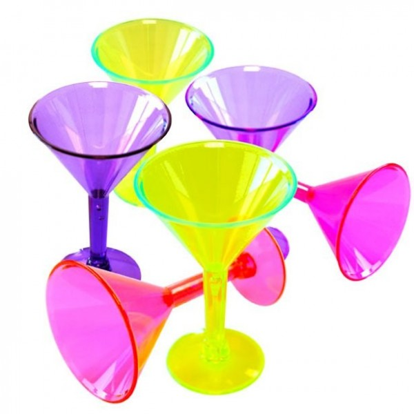 6 neon martini glasses 42ml