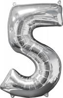 Folienballon Zahl 5 Silber 66cm