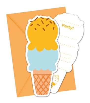 6 Ice Cream Einladungskarten
