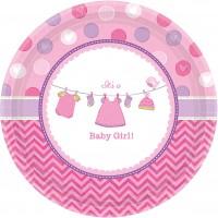 8 Baby Girl Runde Pappteller Pink 26,6cm