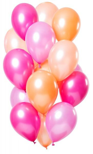 15 latex balloons flamingo colored metallic