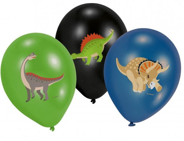 6 Happy Dinosaur Balloons 28cm