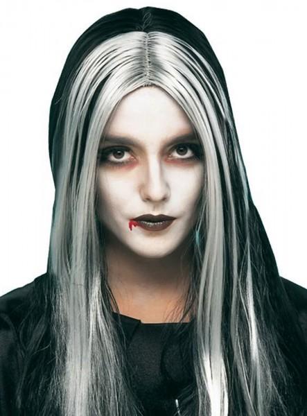 Gothic Girl Perücke Silber Schwarz Lang 1