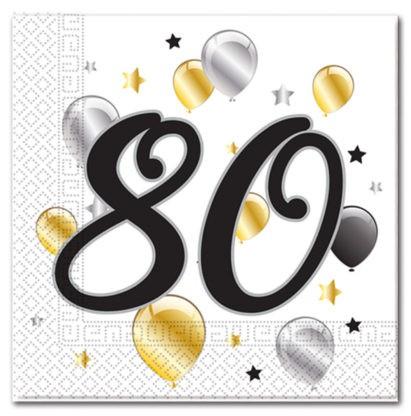 Goldene Milestone 80 Servietten 20 Stk. 1