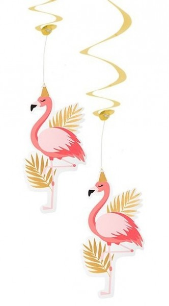 2 Party Flamingo Spiralhänger 85cm