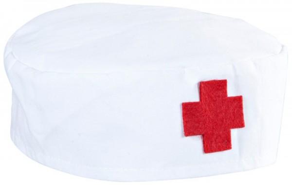 Weiß-Rote Sanitäter Arztkappe