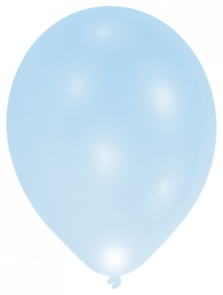 5 LED balloons light blue 27cm
