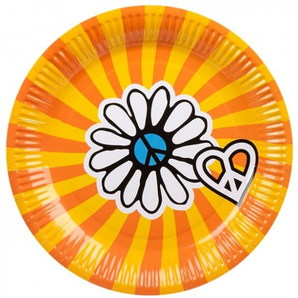 6 Flower Power Rave Pappteller 23cm
