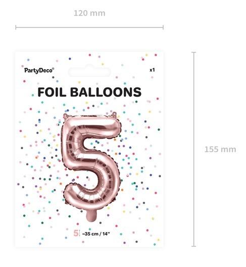 Metallic Ballon Zahl 5 roségold 35cm 3