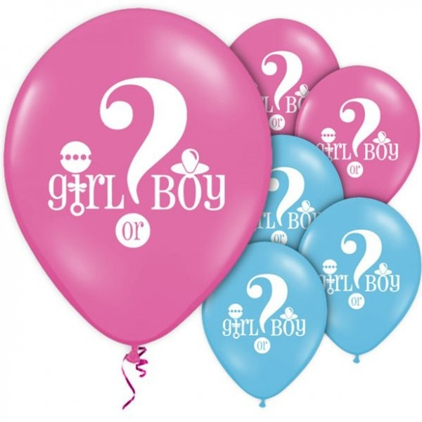 8 Gender Reveal Pink and Blue Balloons 30cm
